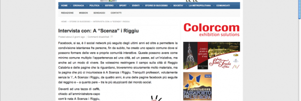 """INTERVISTA CON """"A SCENZA I RIGGIU"""" su www.ilmetropolitano.it"""