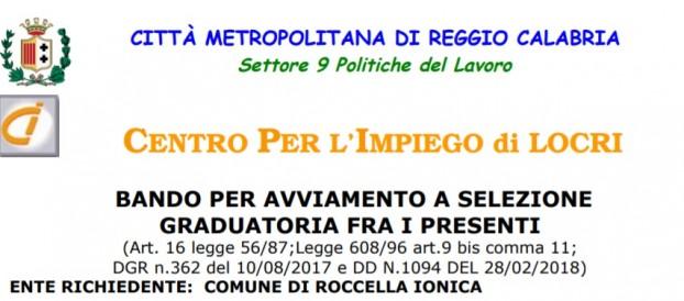 COMUNE DI ROCCELLA IONICA RICERCA DUE OPERAI PER 4 MESI