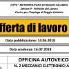 LAVORO REGGIO CALABRIA: OFFICINA RICERCA DUE MECCANICI ELETTRONICI