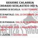 REGIONE CALABRIA: IL CALENDARIO SCOLASTICO 2019/20