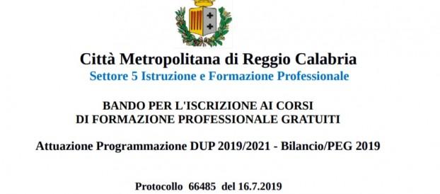 BANDO PER L'ISCRIZIONE AI CORSI DI FORMAZIONE PROFESSIONALE GRATUITI 2019 – CITTA' METROPOLITANA DI REGGIO CALABRIA