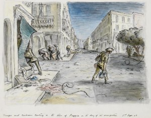 Ardizzone' s drawing of British troops in Reggio on 3rd September 1943.