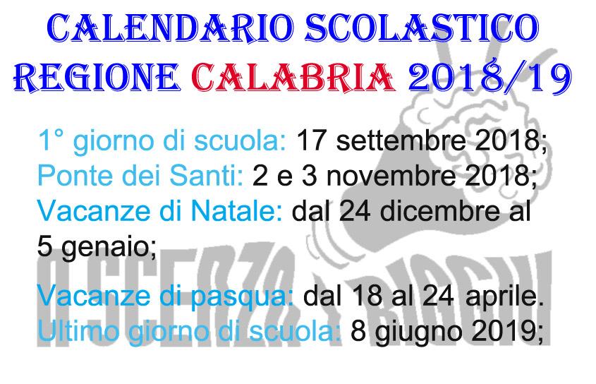 Calendario Regionale Scuola.Regione Calabria Il Calendario Scolastico 2018 19