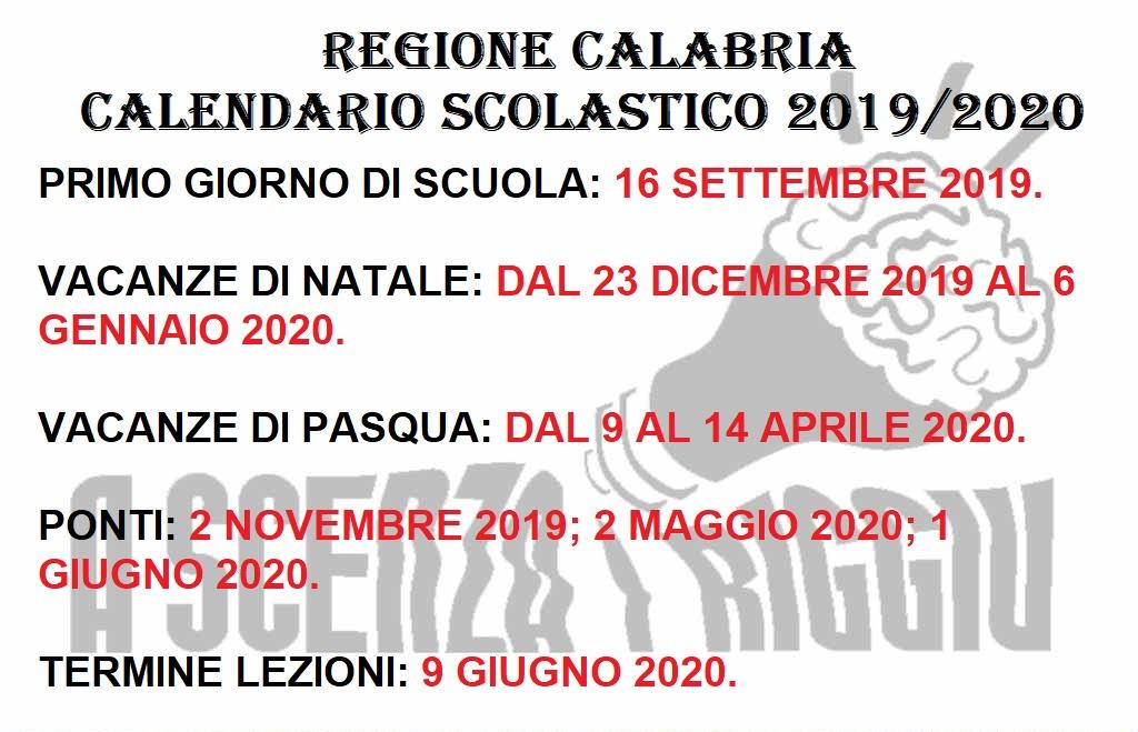 Calendario Regionale Scuola.Regione Calabria Il Calendario Scolastico 2019 20