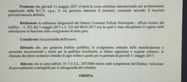 GIRO D'ITALIA A REGGIO CALABRIA: SCUOLE CHIUSE PER L'EVENTO