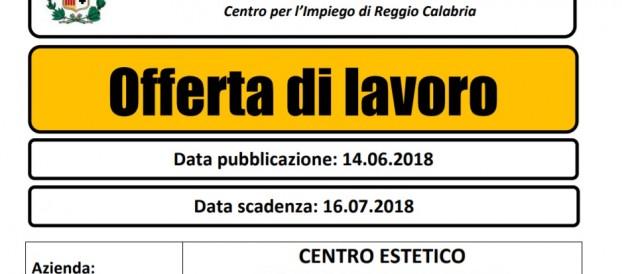 LAVORO REGGIO CALABRIA: CENTRO ESTETICO RICERCA ESTETISTA