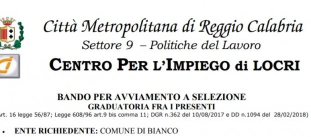 LAVORO: COMUNE DI BIANCO RICERCA 3 OPERAI